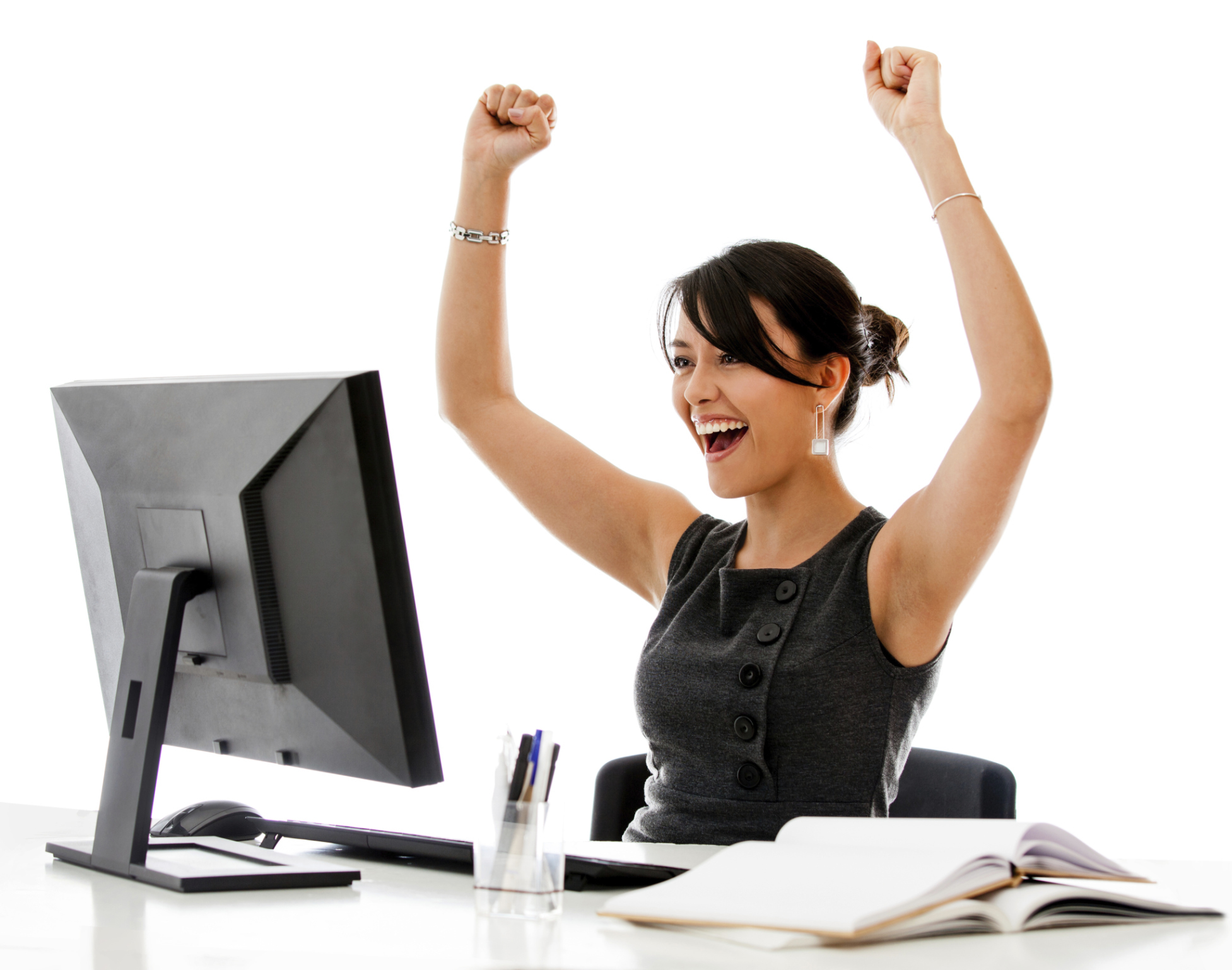 woman cheering at computer
